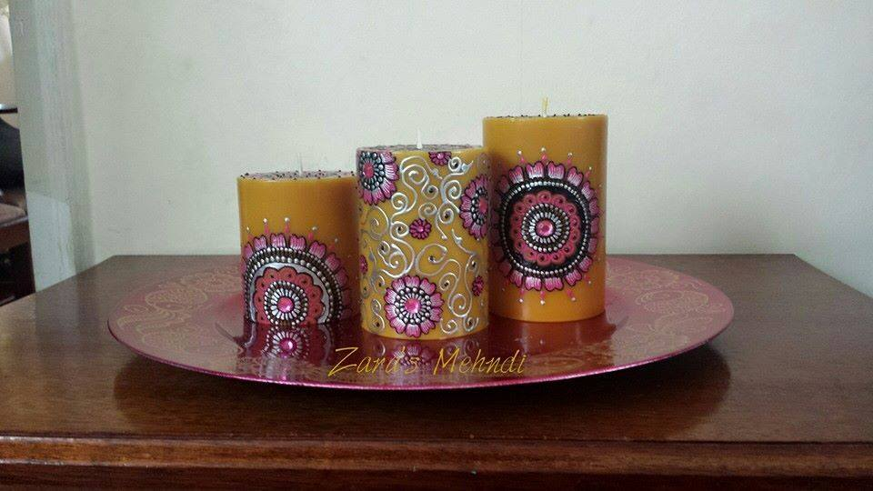 Mehndi For Candles : Zara s mehndi gifts u decorative candles crafty praxis
